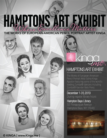 Hamptons Art Exhibit - The Works of European-American Pencil Portrait Artist Edina Kinga Agoston