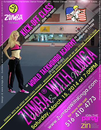 Zumba with Kinga Dance Fitness Classes at Karate Kids in Quogue, Hamptons, Long Island, New York