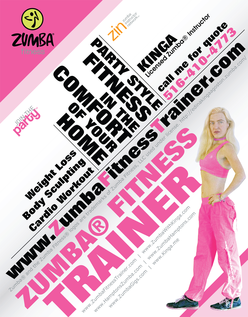 Zumba Fitness training at your home in the Hamptons, Long Island, New York with Licensed Instructor KINGA
